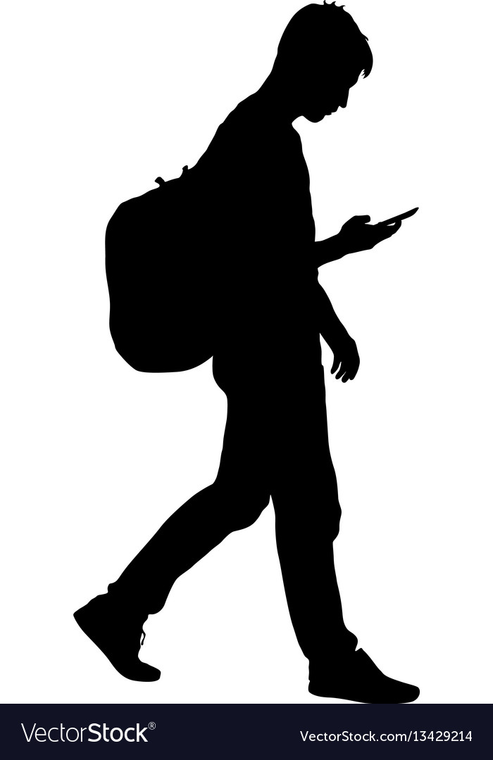 black silhouettes man with backpack on a back vector image