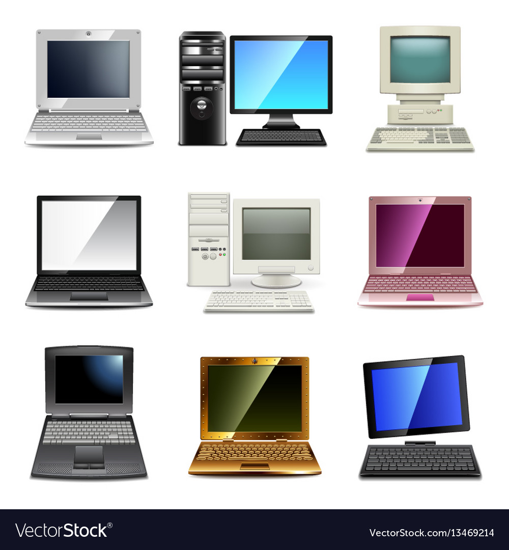 Computer types icons set