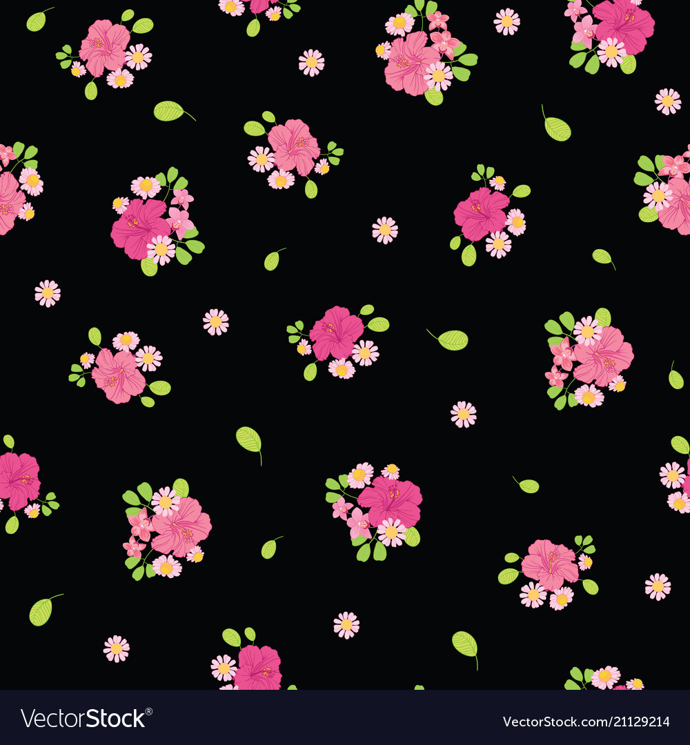 Ditsy tropical flowers seamless pattern design