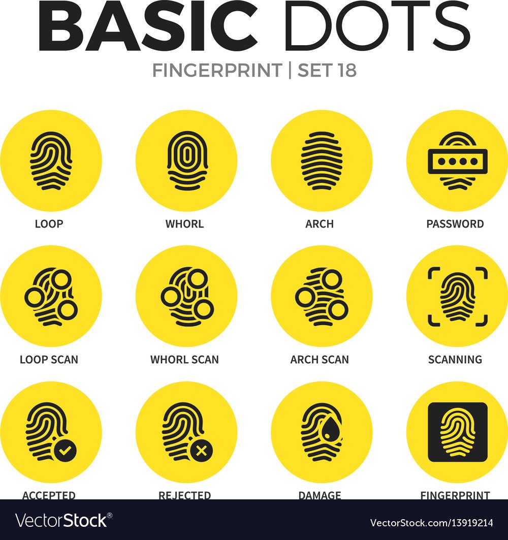 Fingerprint flat icons set