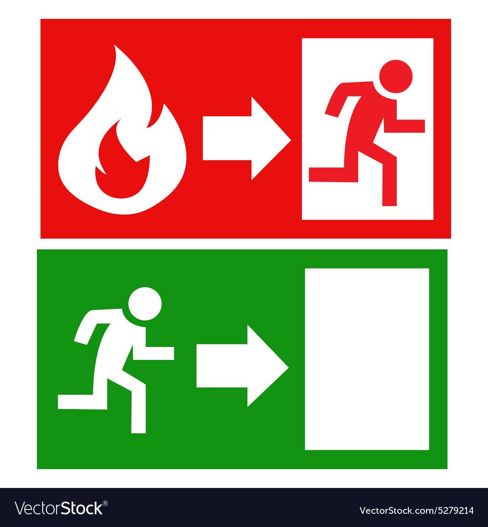 Fire Exit Signs Royalty Free Vector Image Vectorstock