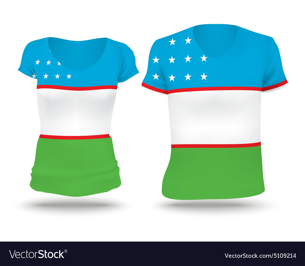 Flag shirt design of Uzbekistan vector image