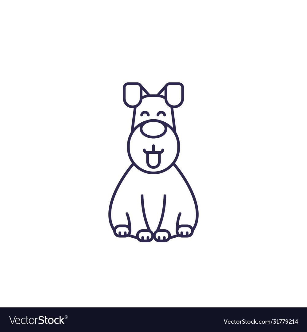 Happy dog line icon
