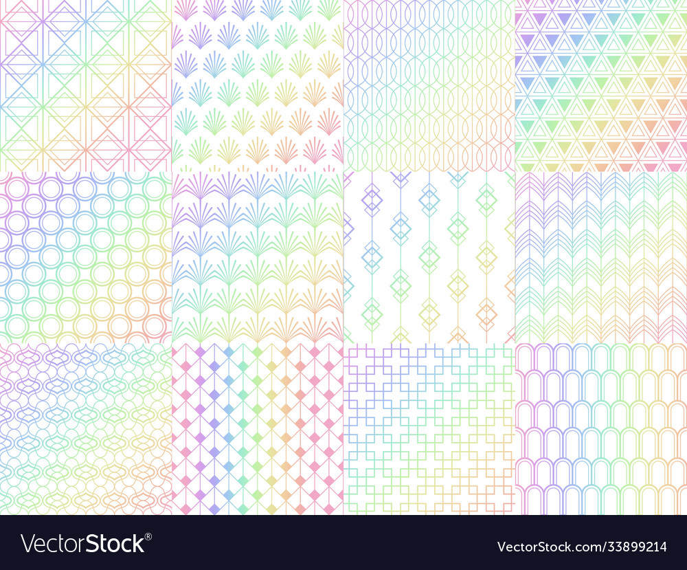 Holographic metal rainbow seamless pattern set vector