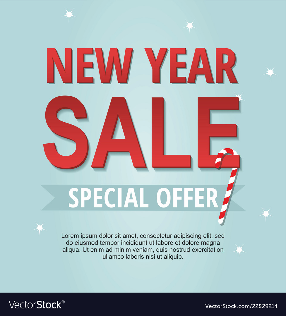 new year sale banner with candy vector image