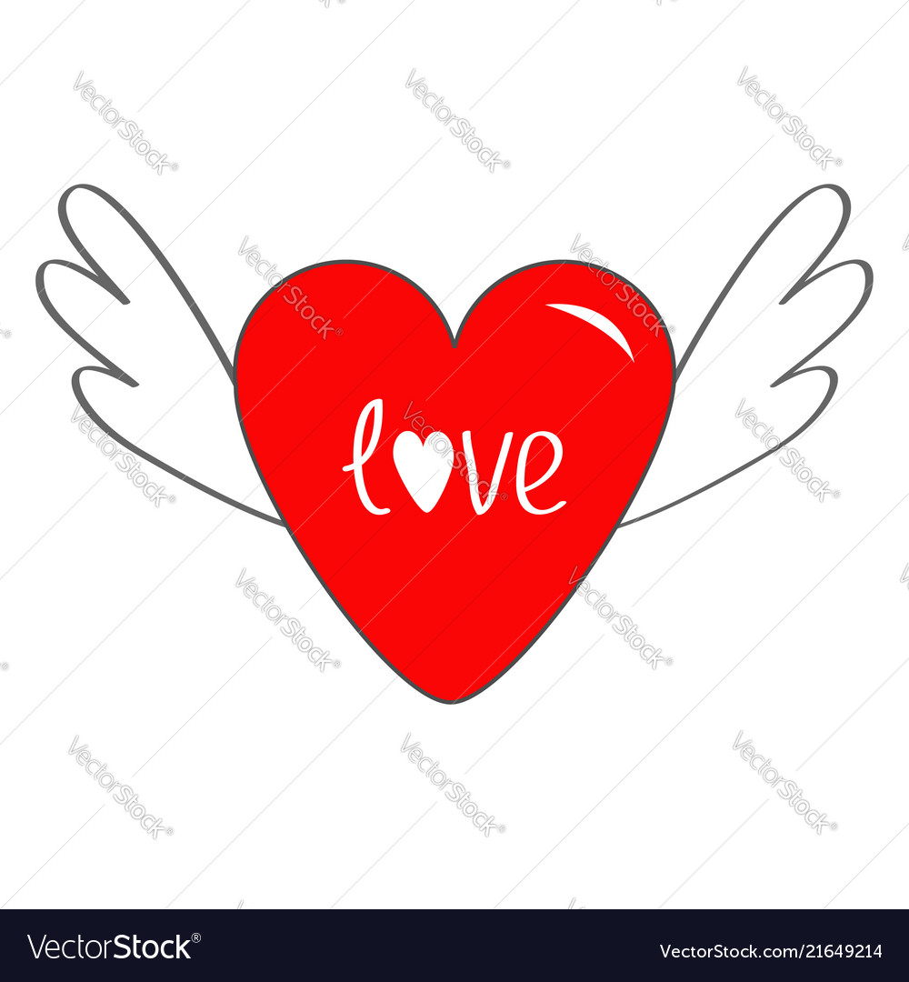Red heart with wings cute cartoon contour sign