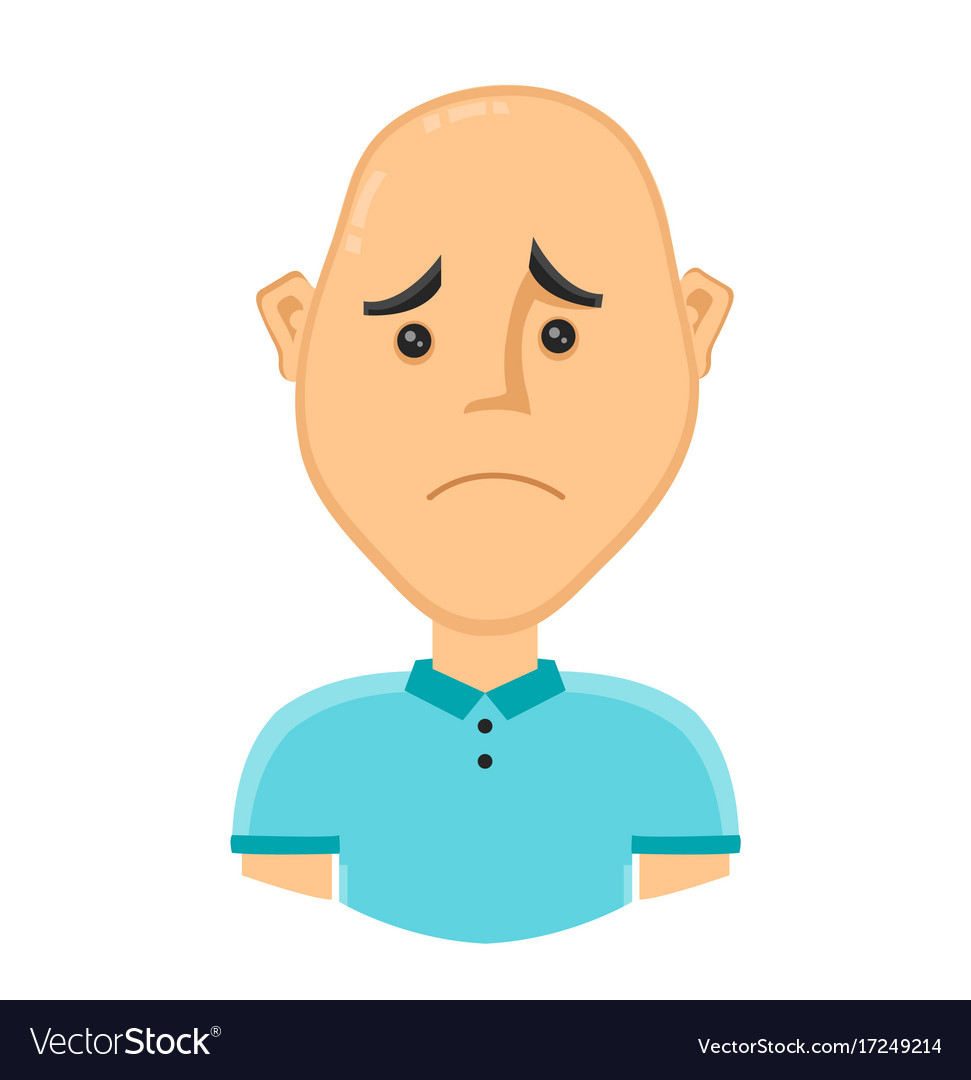 Sad bald man without hair