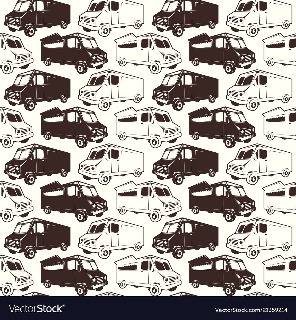 Seamless pattern fast food car delivery