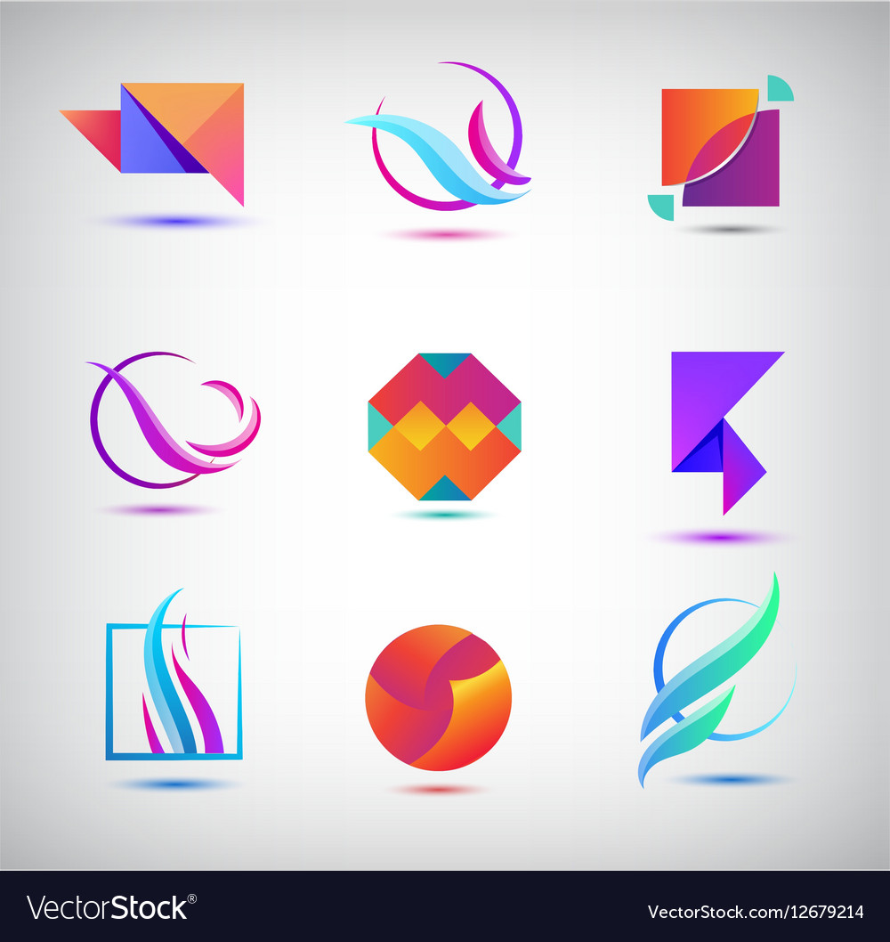 Set of abstract logos icons minimal vector image