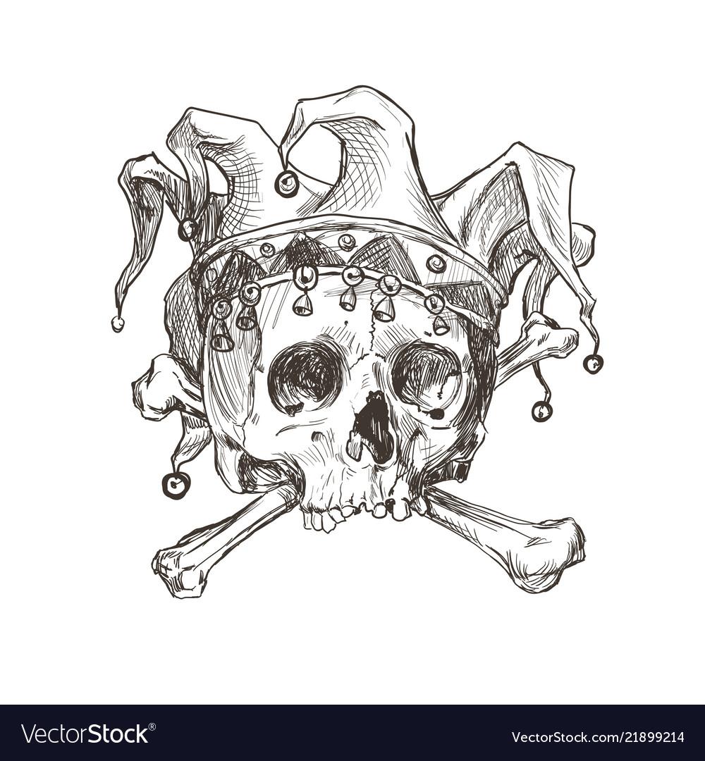 Sketch skull a joker in a comic cap