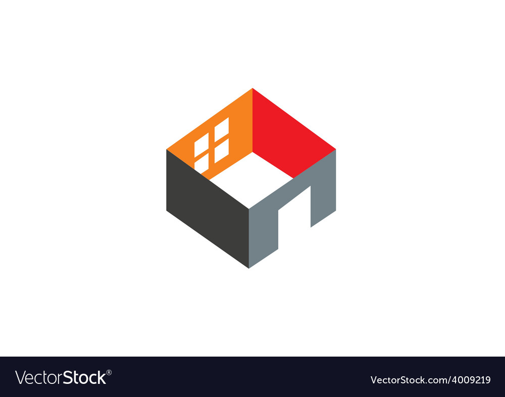 3D home construction interior logo vector image