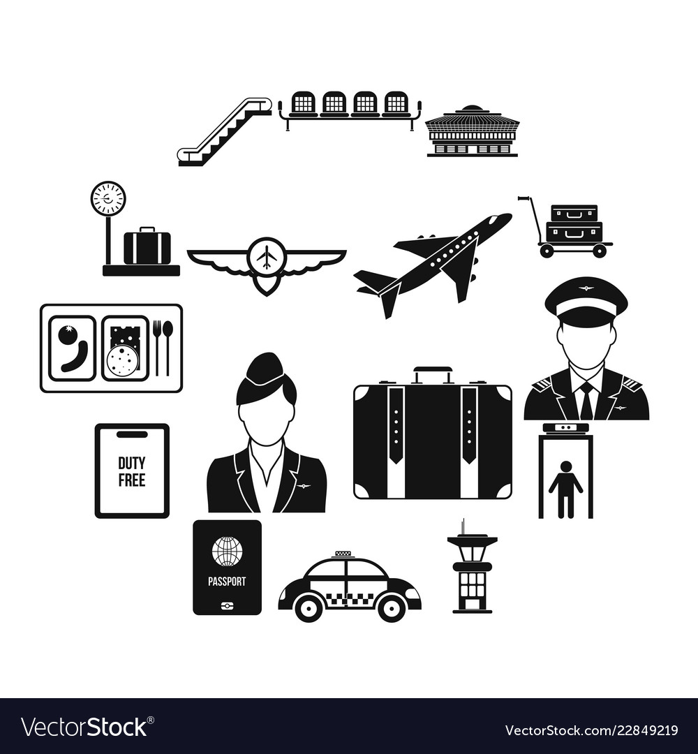 Airport black simple icons