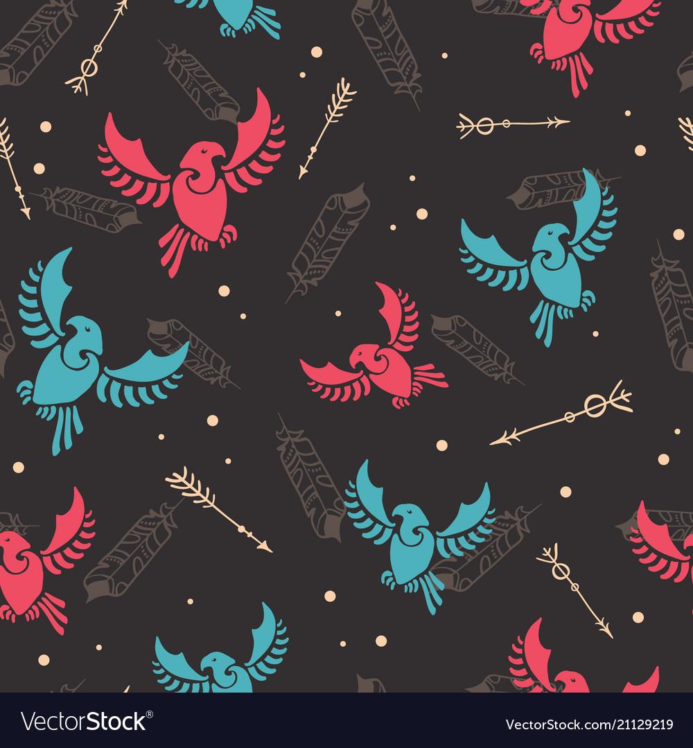 Arrows tribal birds arrows hunt seamless pattern