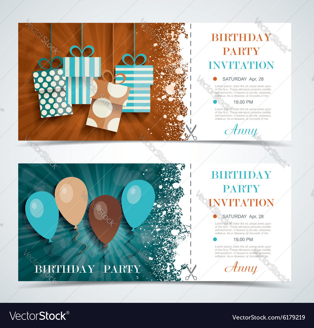 complimentary ticket to a party on birthday vector image