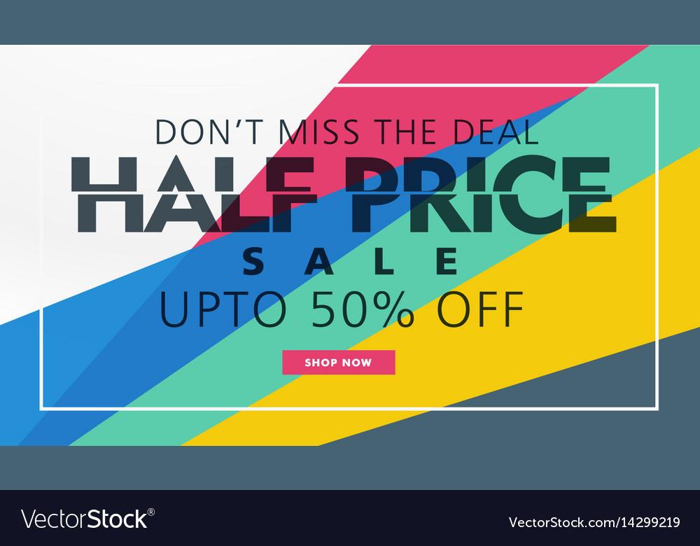 half price sale banner template creative design vector image