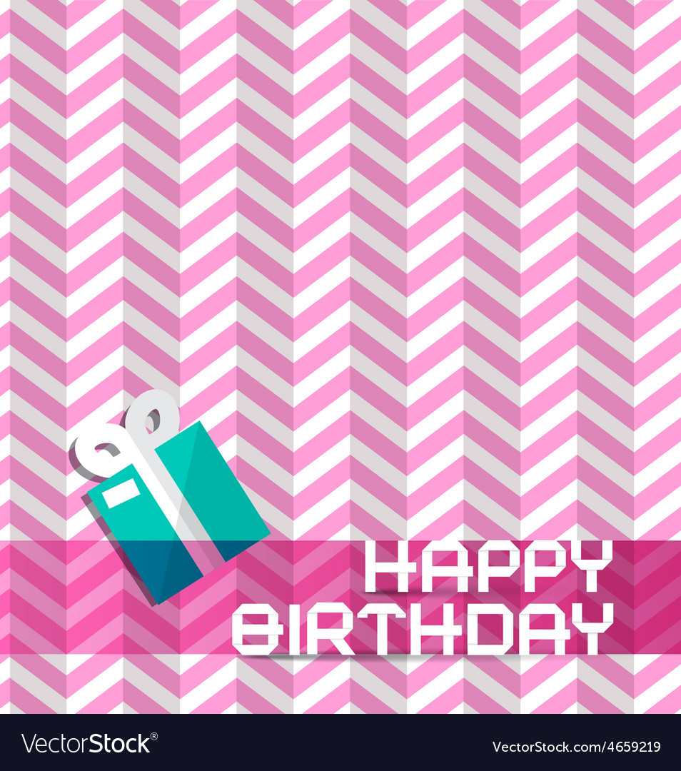 Happy Birthday Retro Pink Background with Gift Box