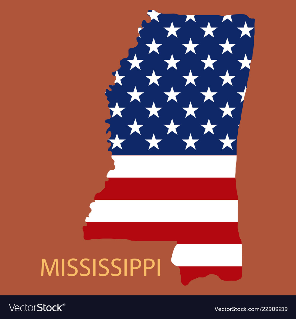 Mississippi state of america with map flag print Vector Image