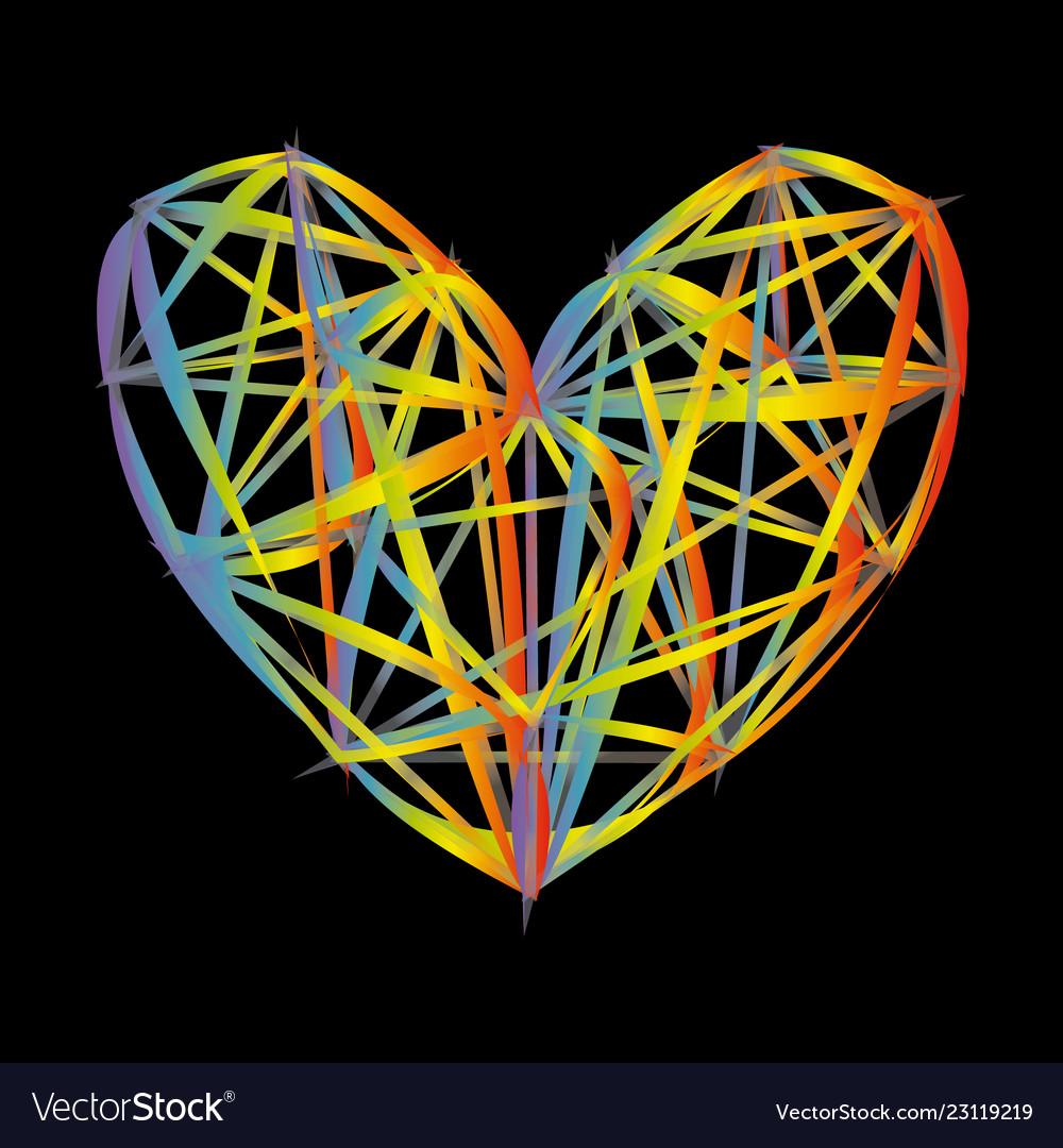 Rainbow heart icon colorful polygon on black