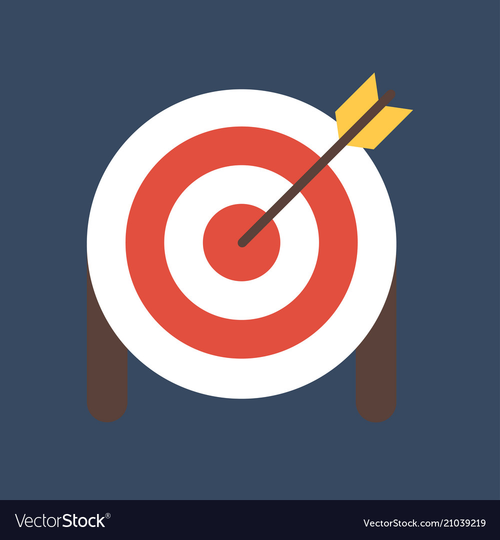 Target with arrow on tripod flat icon smart goal