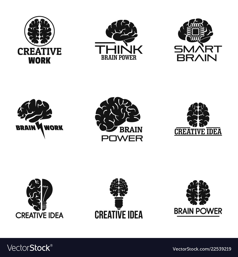 Think brain power logo set simple style