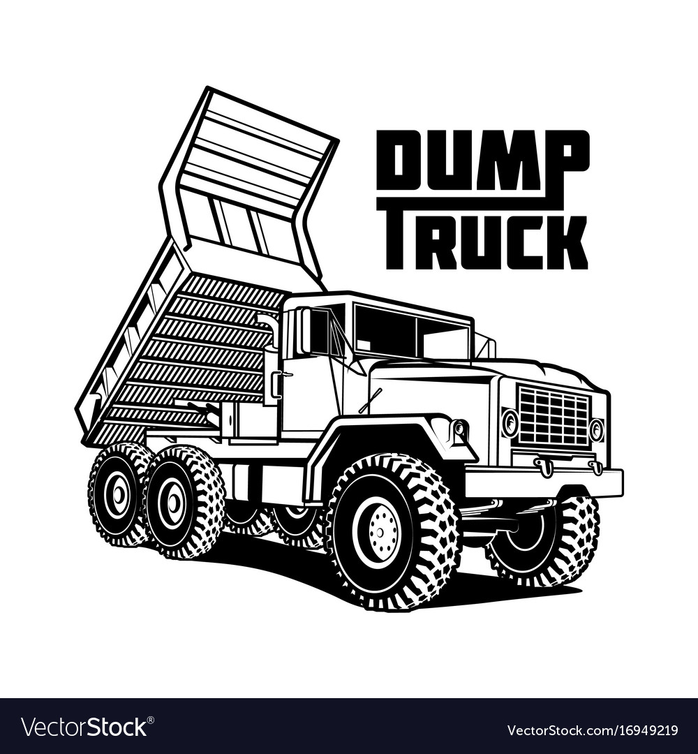 Tipper truck isolated on white vector image