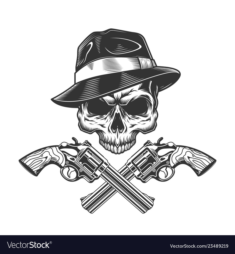 Vintage monochrome gangster skull without jaw