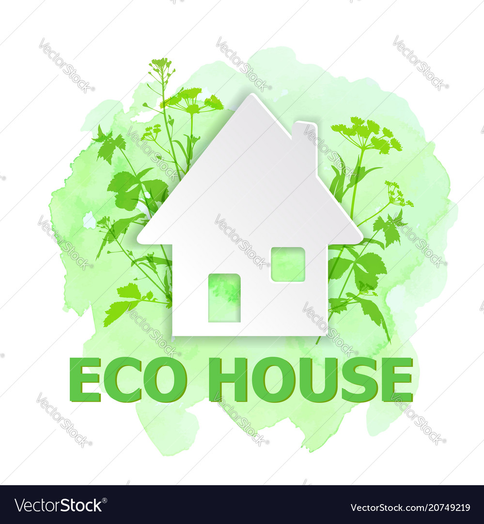 White paper house and green plants