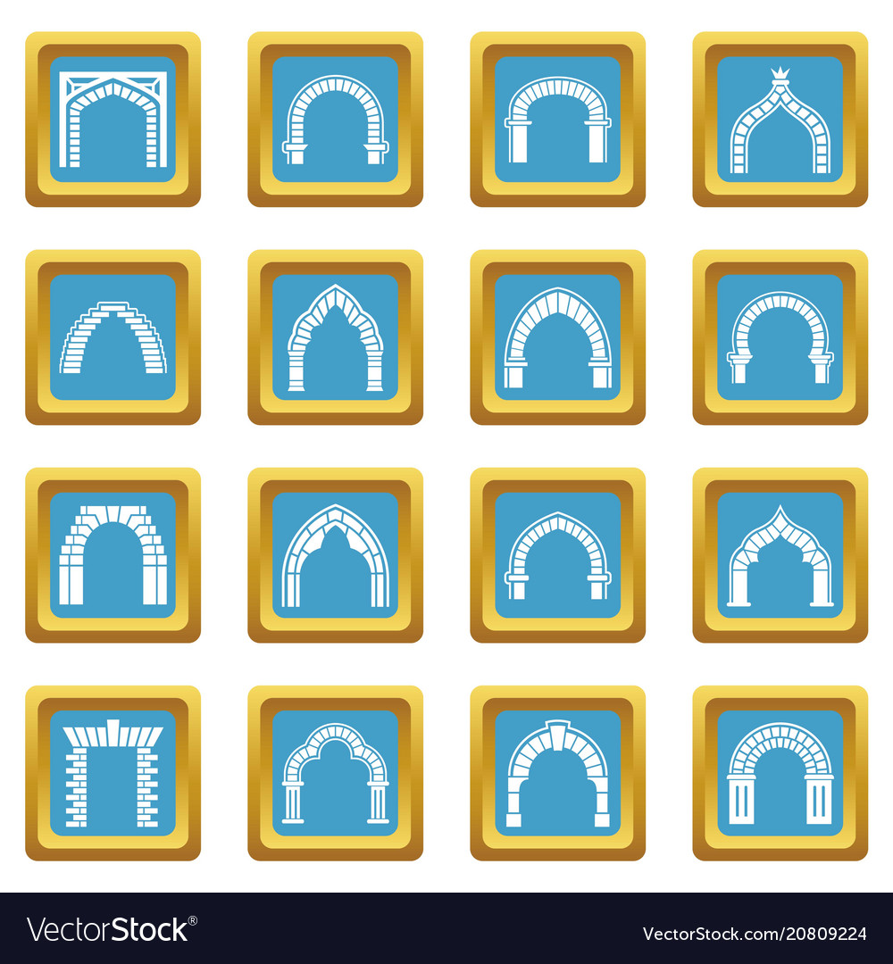 Arch types icons set sapphirine square