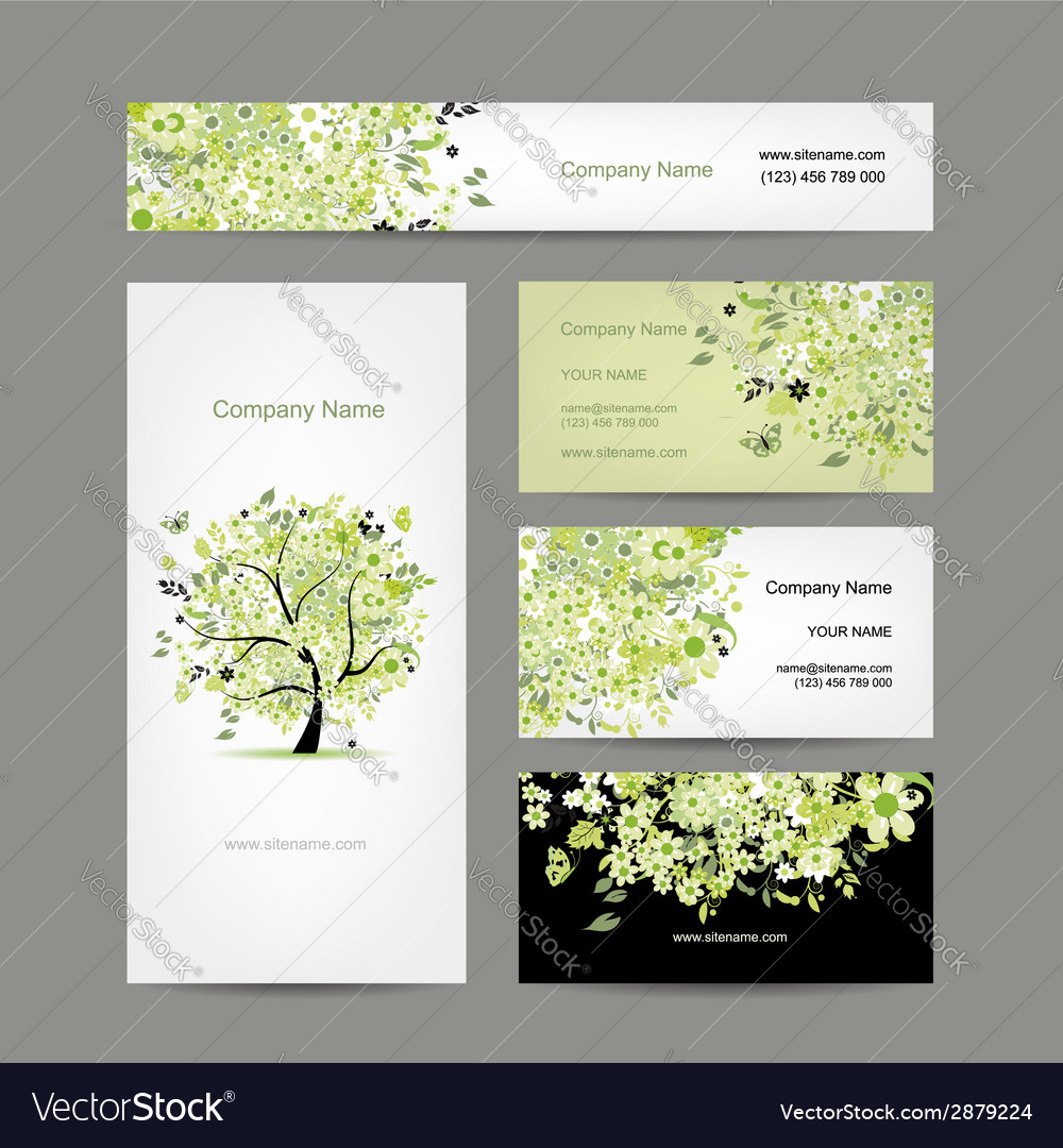 Business cards design spring tree floral vector image colourmoves