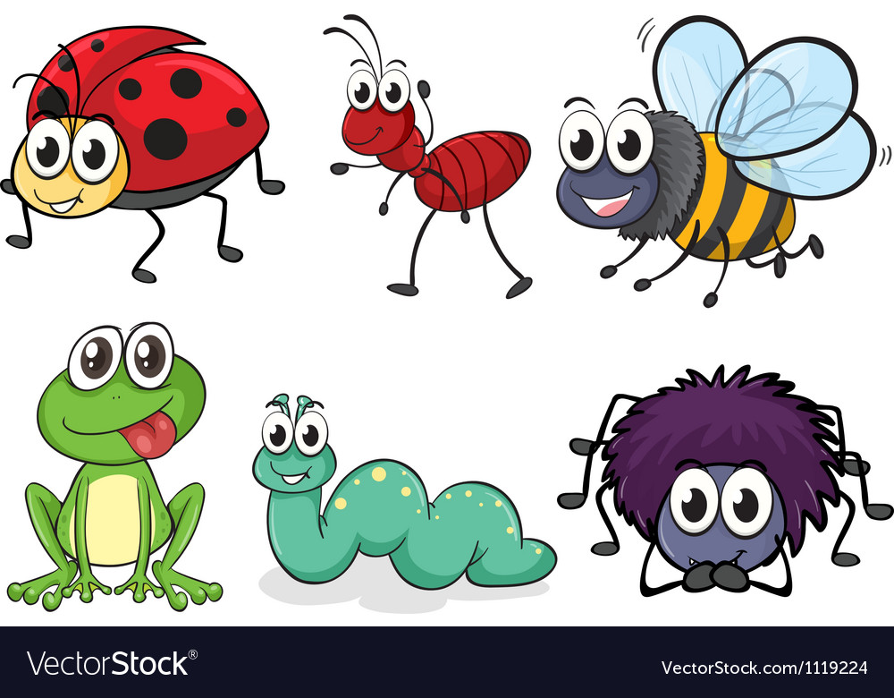 cartoon insects royalty free vector image vectorstock rh vectorstock com cartoon insects images cartoon insects that do tricks