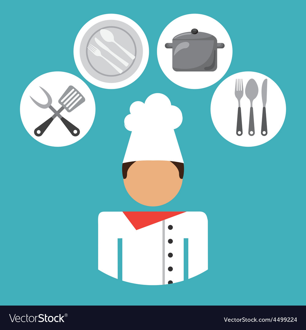 Chef, Cartoon, White, Hat & Knife Vector Images (44)