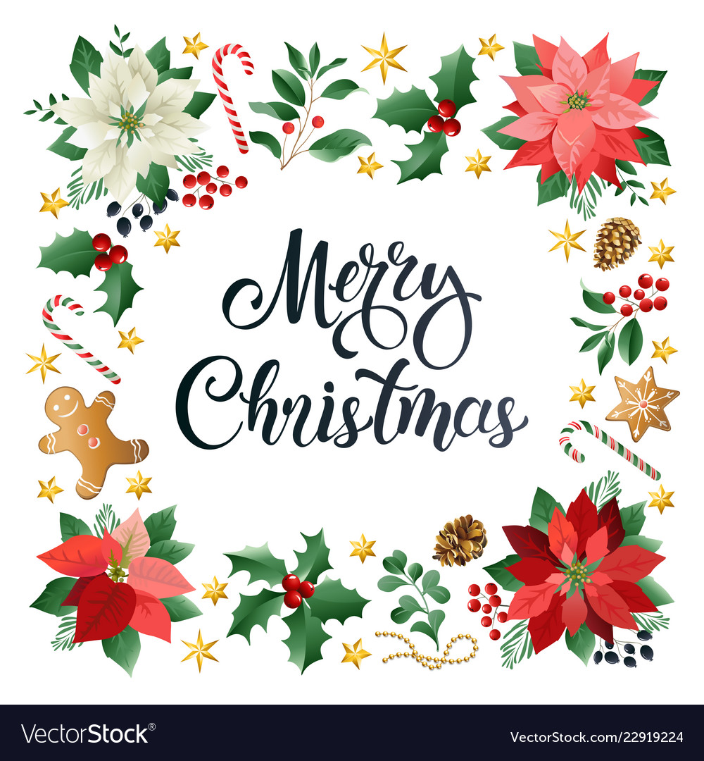 Christmas greeting card with calligraphic season