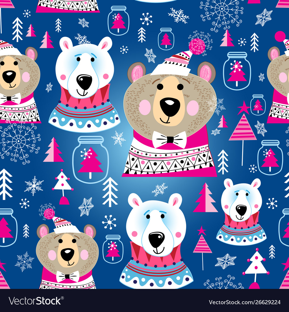 Christmas pattern with portraits bears