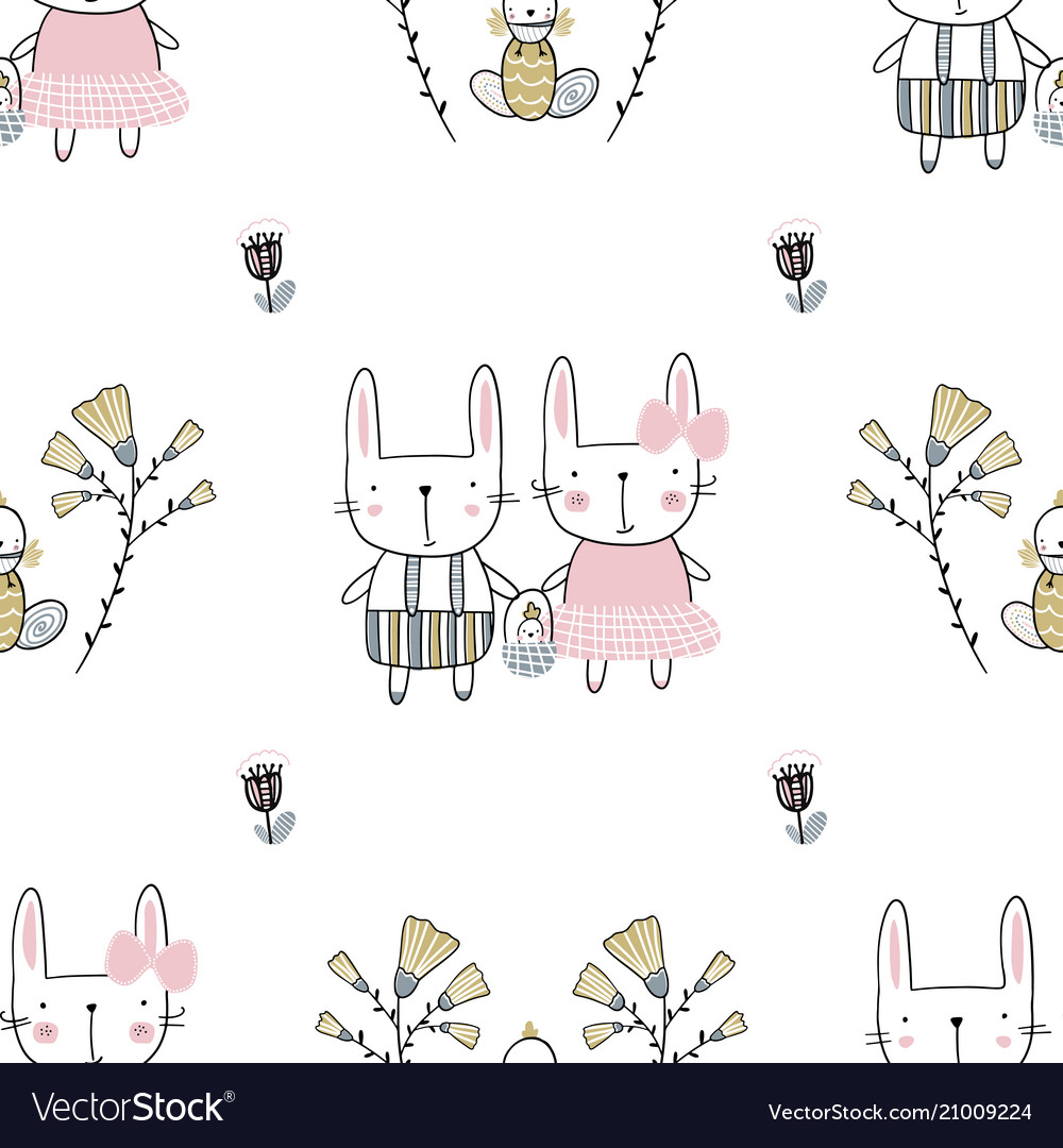 Easter seamless pattern with flowers family of