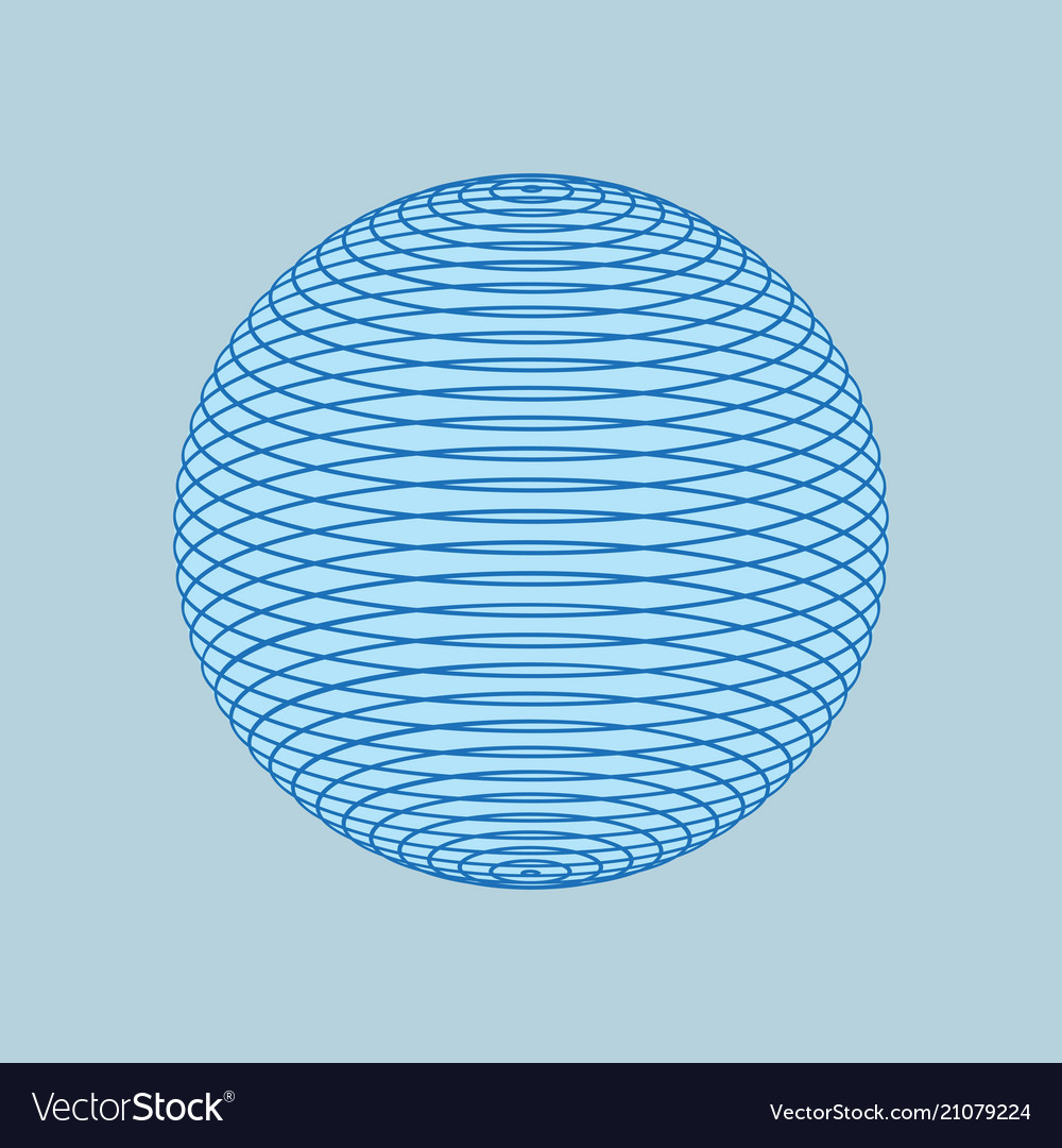 Globe of blue lines isolated 3d line ball networ