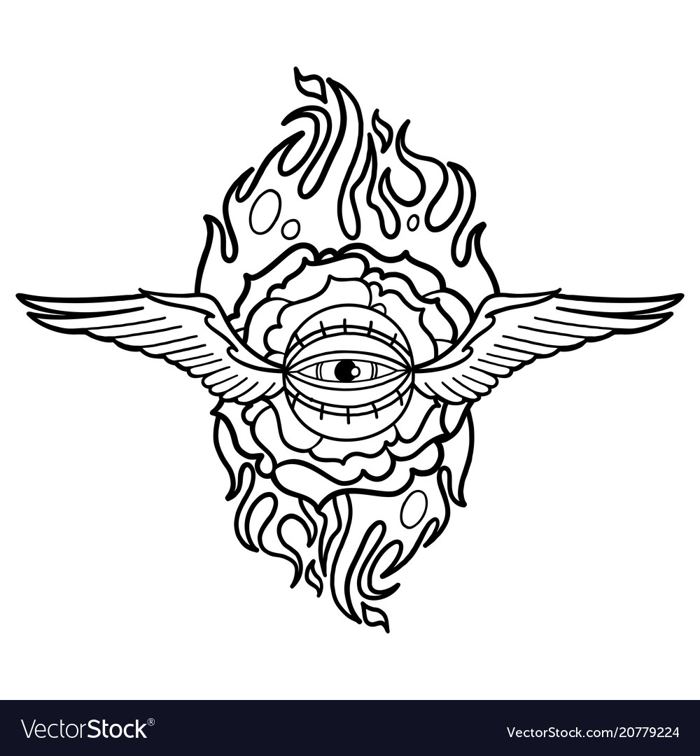 Graphic flaming flower and winged all-seeing eye