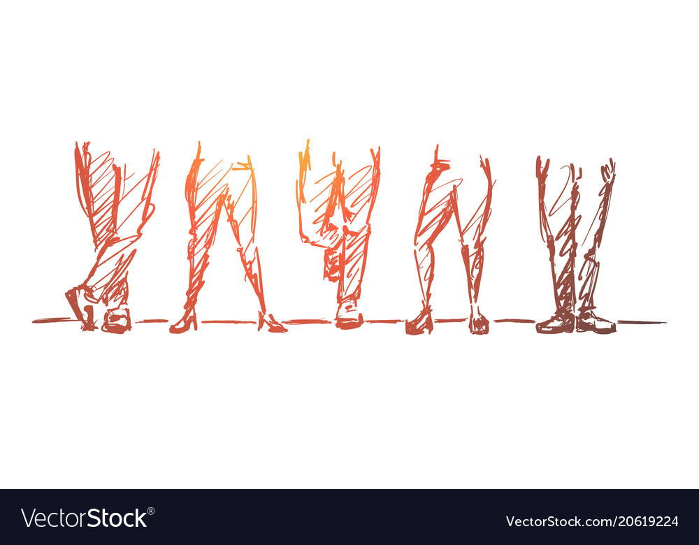 Hand drawn different legs positions vector image