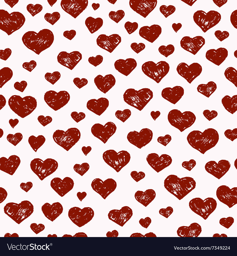 Hand drawn seamless pattern with red hearts