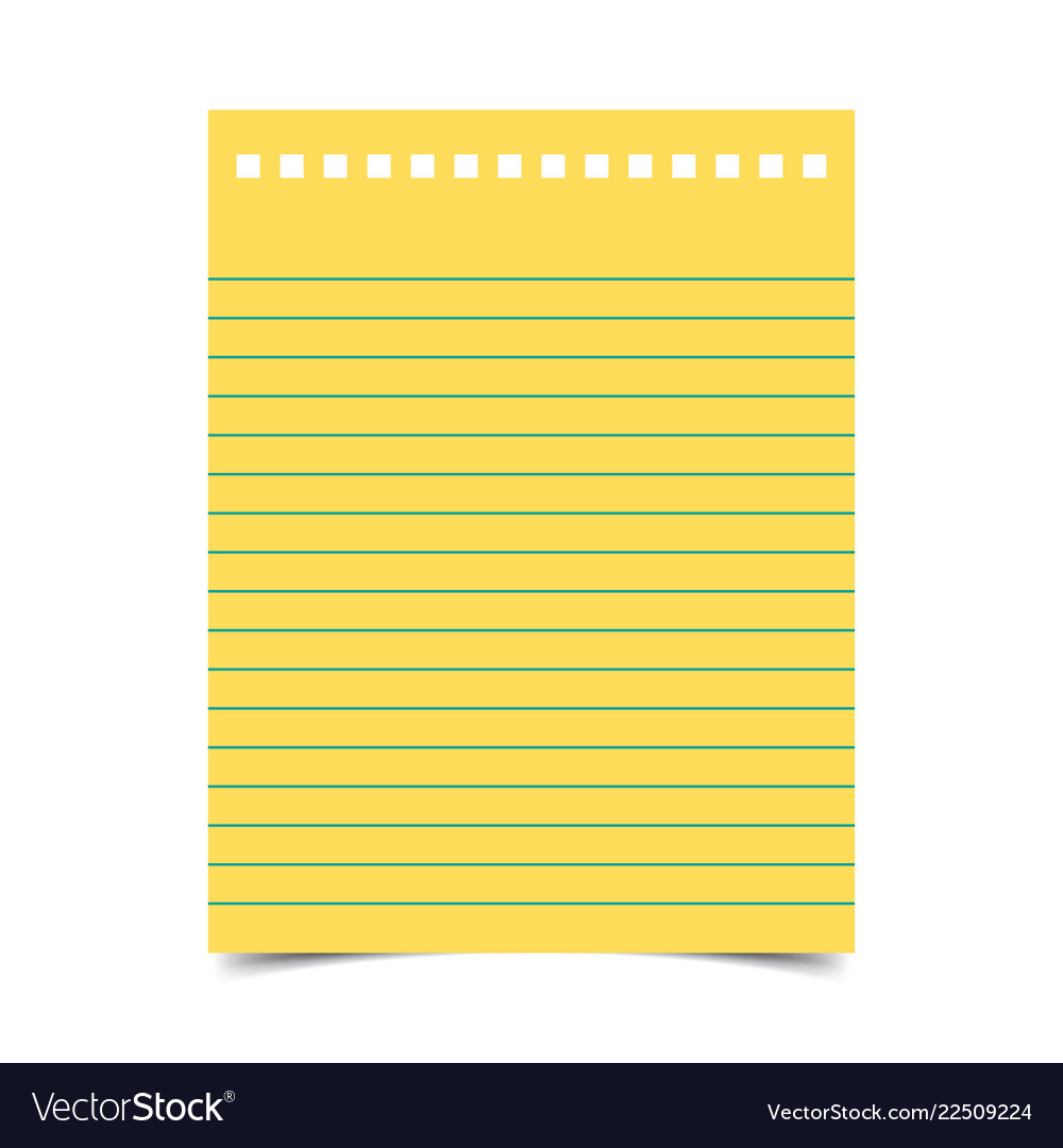 Lined Paper With Shadow On Blank Background