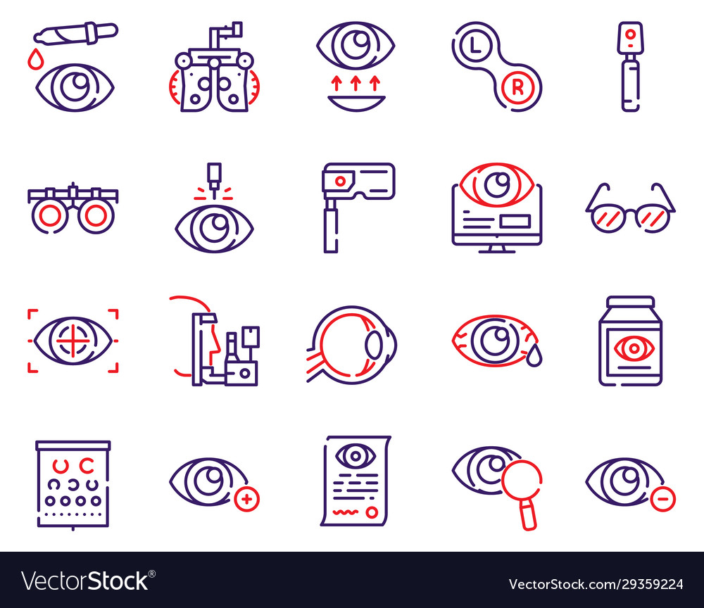 Ophthalmology color linear icons set