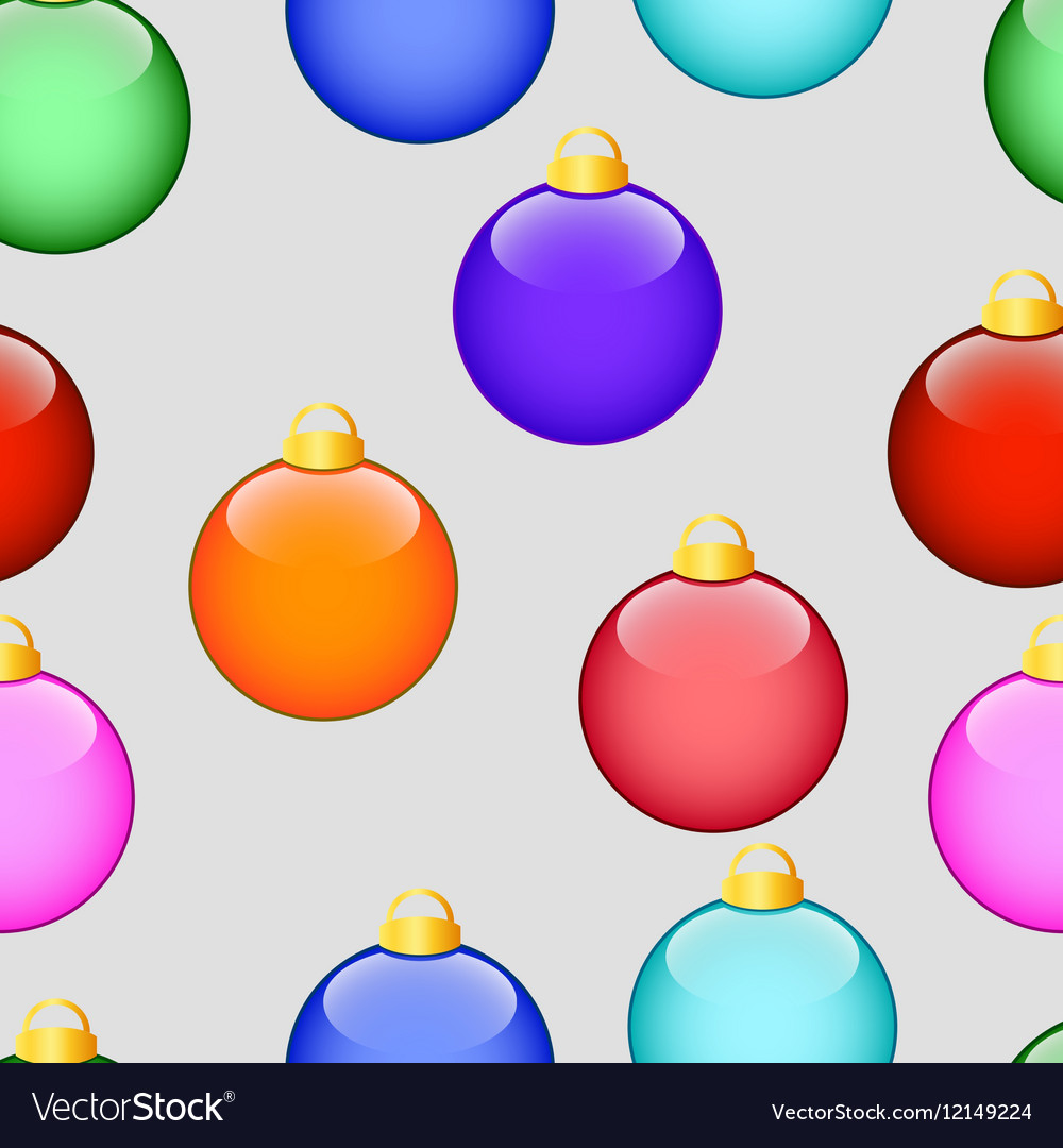 Pattern with Christmas colored balls on grey