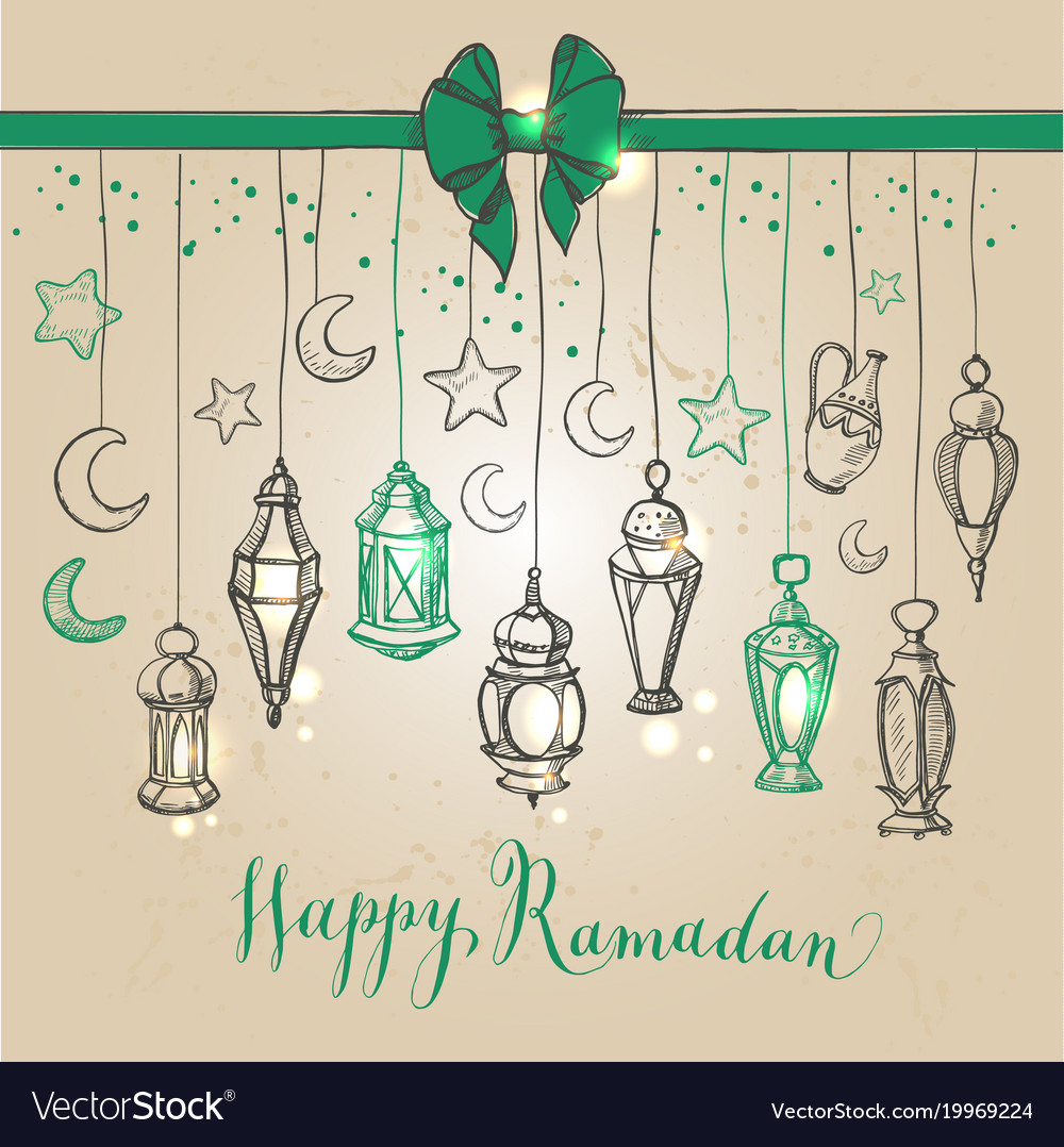 Ramadan kareem with lantern in hand