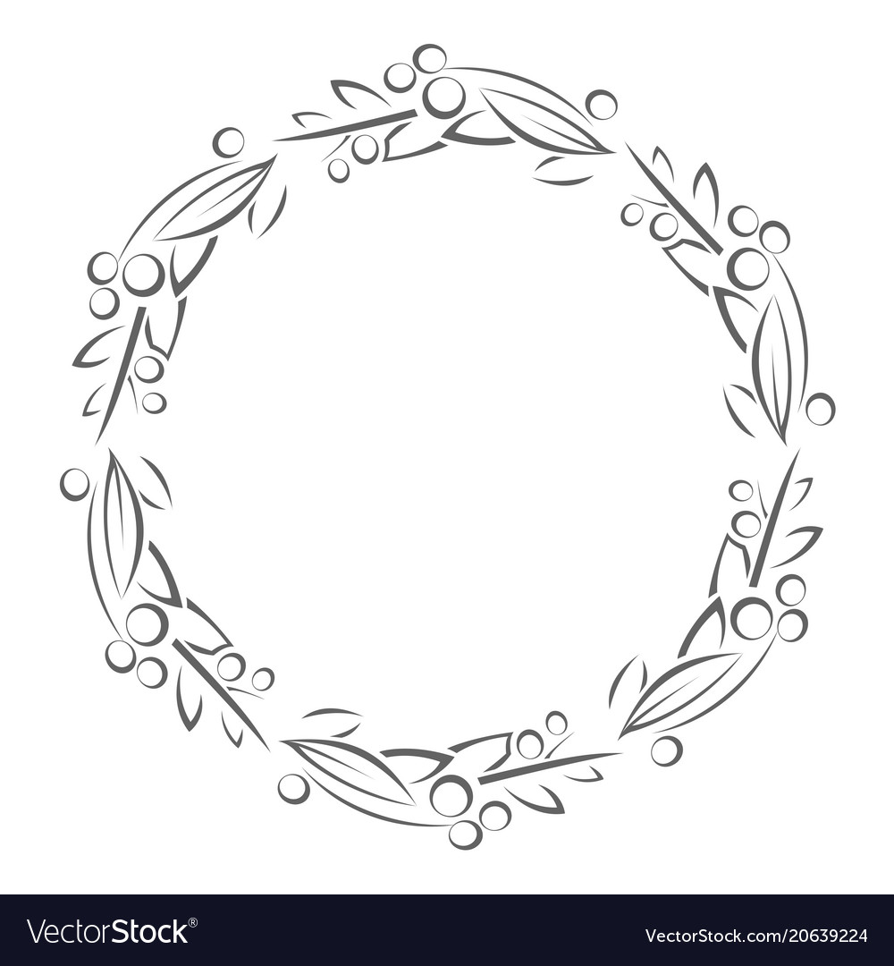 Round frame with leaves and berries outline Vector Image
