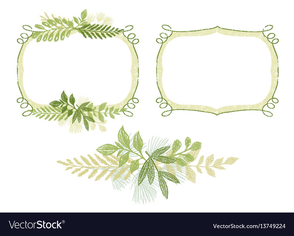 Scrabble hand drawn branch border for cards design vector image
