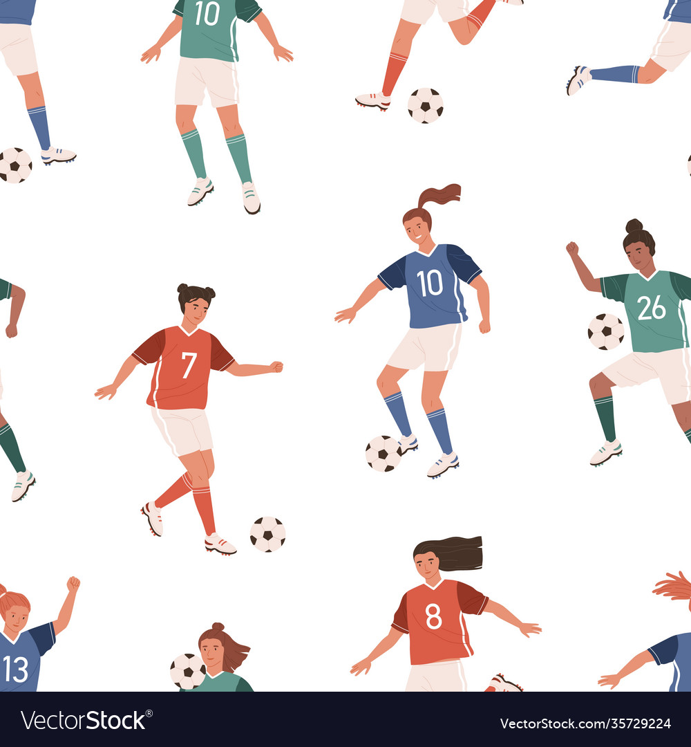Seamless pattern with female football players on