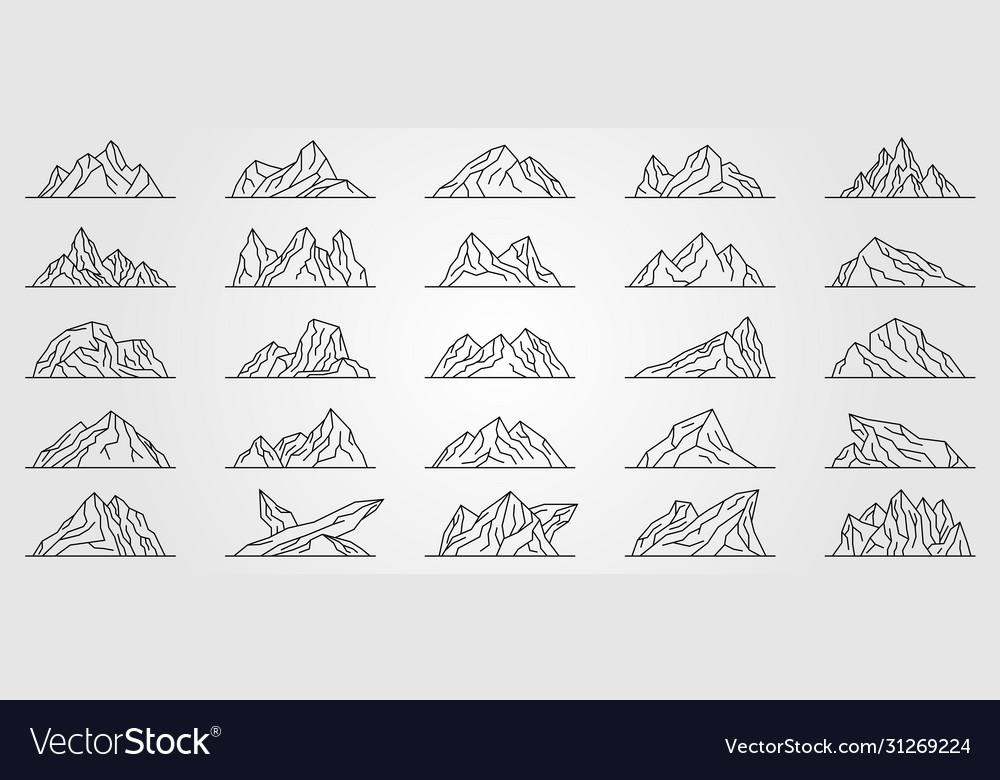 Set mountains line art logo minimalist design