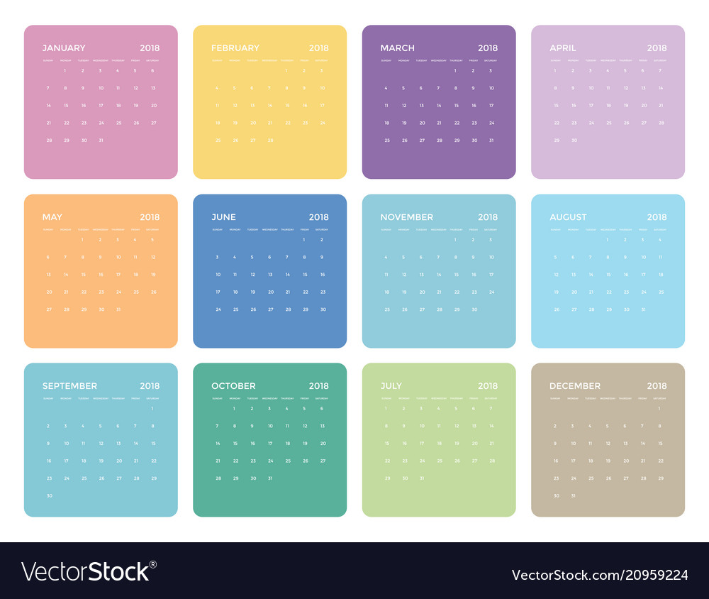 Simple colorful universal calendar for 2018