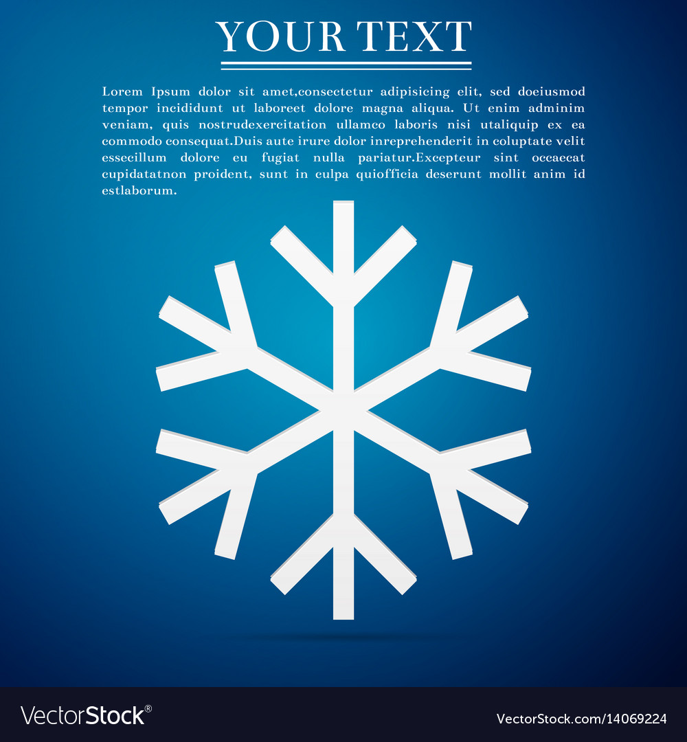 Snowflake flat icon on blue background