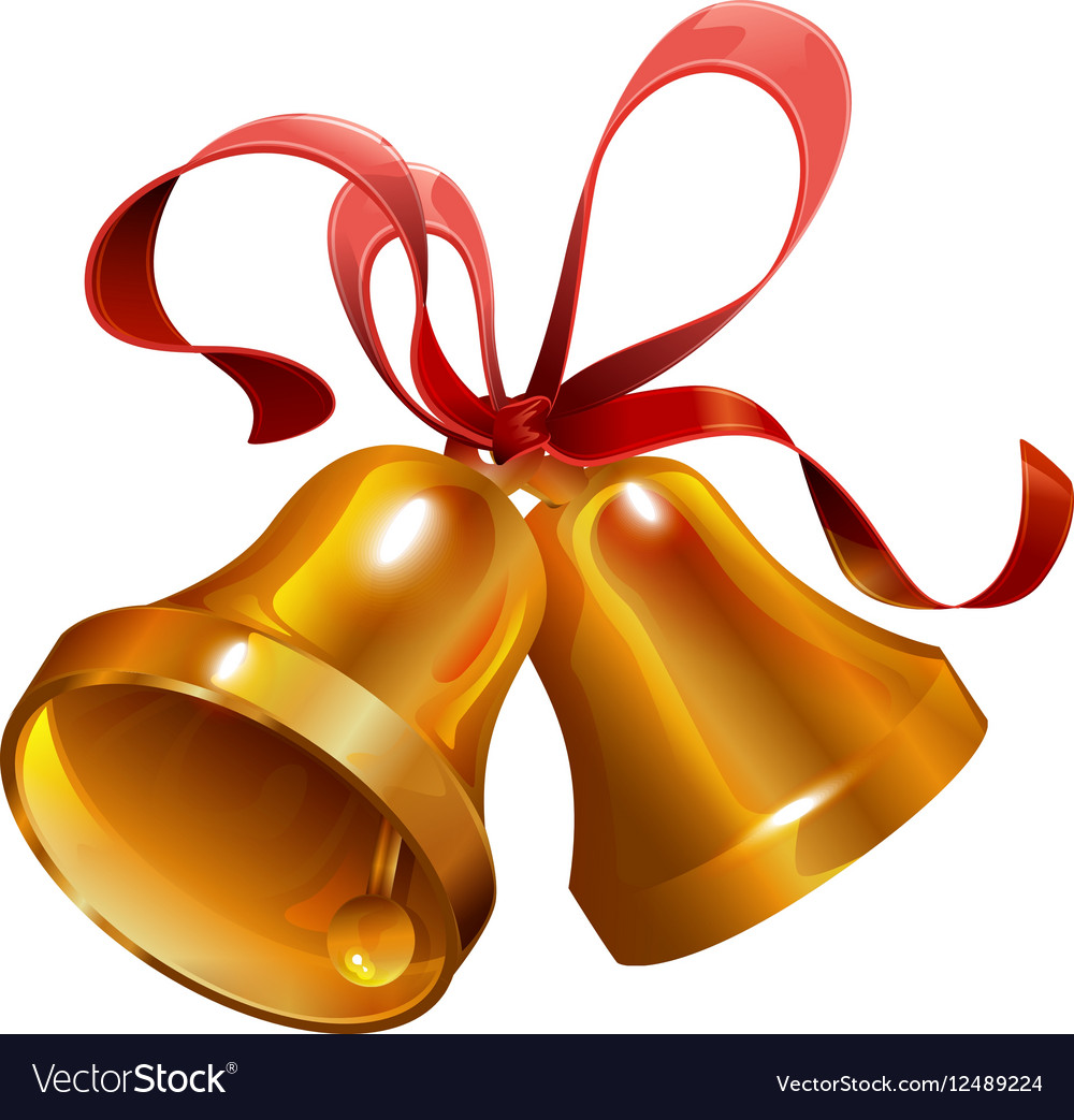 Christmas Bell.Two Gold Christmas Jingle Bell With Red Ribbon