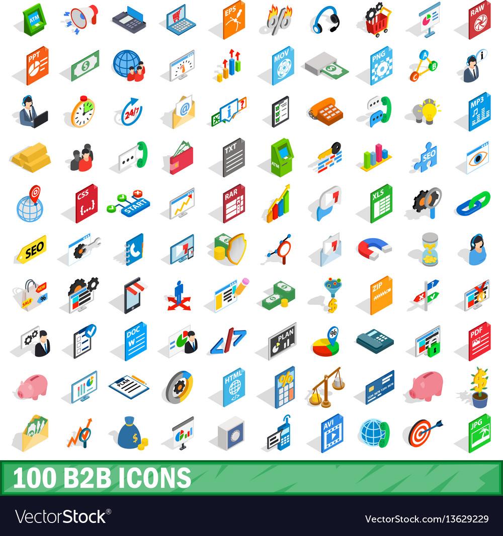 100 b2b icons set isometric 3d style